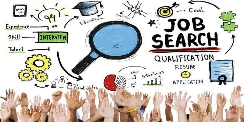 أيقونات بحث عن الوظائف و أيدي مرتفعة كثيرة